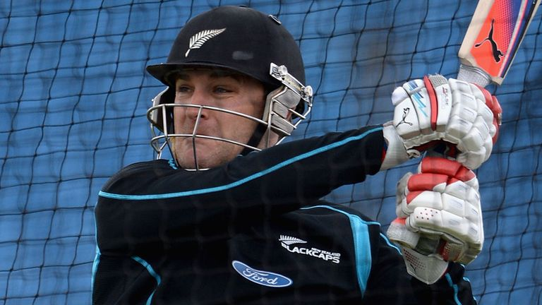Brendon McCullum: hitting out during a net session at Headingley