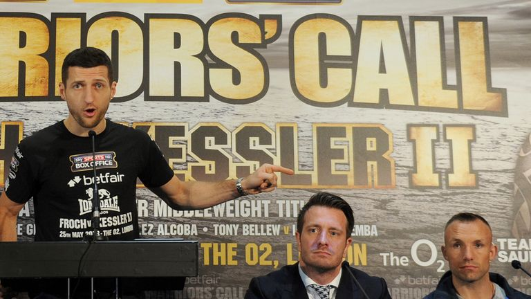 Carl Froch speaks to the media during the press conference ahead of his fight with Mikkel Kessler