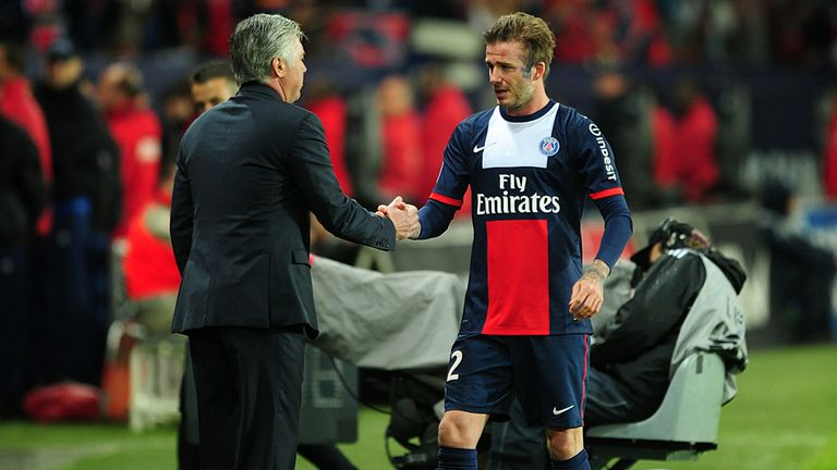 David Beckham shakes hands with Carlo Ancelotti after Paris farewell