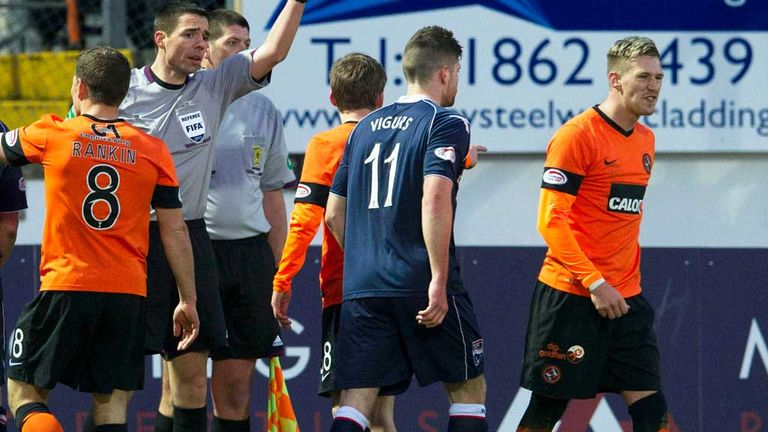 Barry Douglas (far right) is dismissed in Dundee United's defeat to Ross County