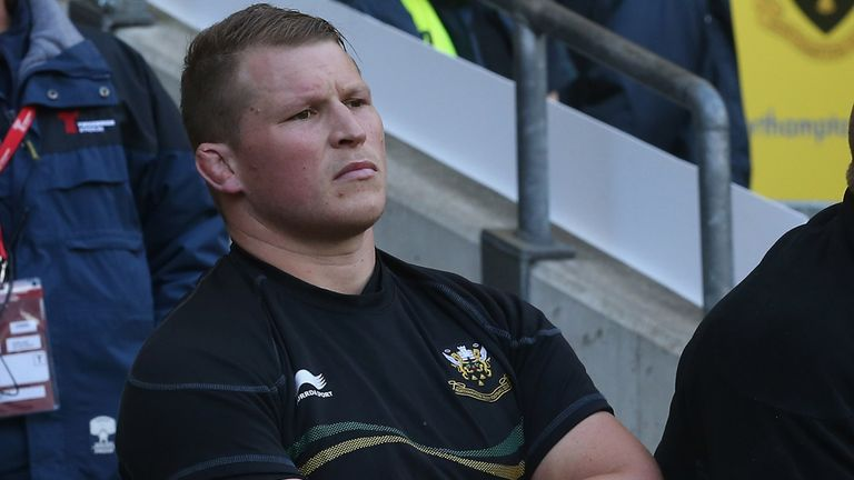 Dylan Hartley sits on the bench after his red card at Twickenham