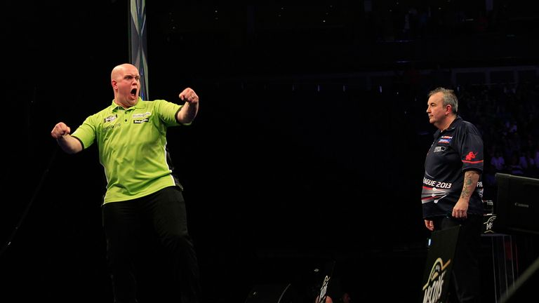 Van Gerwen has won five tournaments in a row but Taylor will be out to end that streak