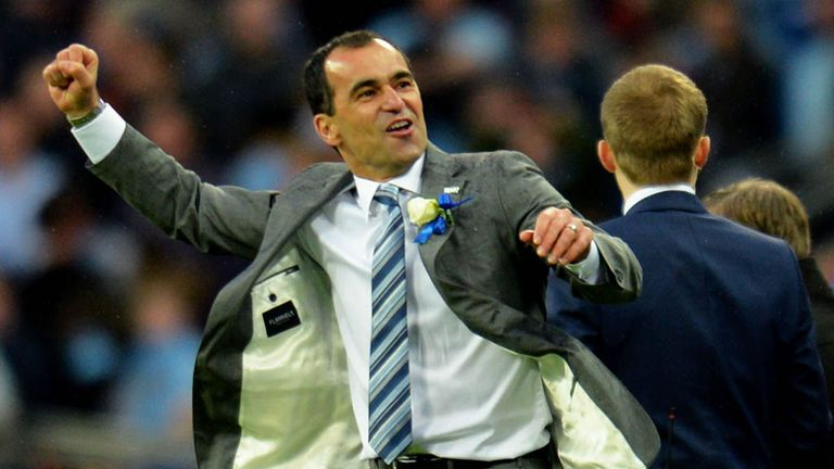 Roberto Martinez celebrates Wigan's FA Cup win