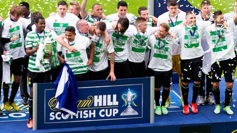 Celtic: Celebrate the 3-0 Scottish Cup final victory over Hibernian at Hampden