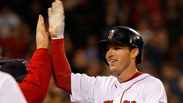 Stephen Drew celebrates his home run against the Twins