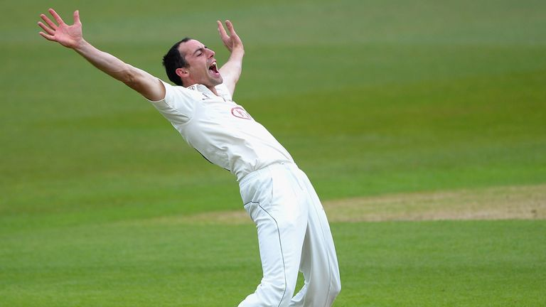 Tim Linley: Appeals for an lbw against Derbyshire