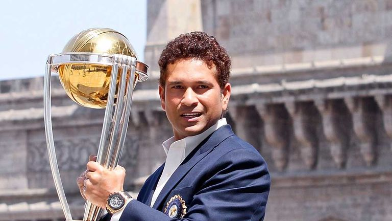 Sachin Tendulkar with ICC Cricket World Cup