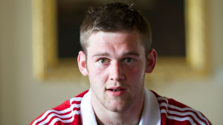 British and Irish Lions flanker Dan Lydiate speaks to the press