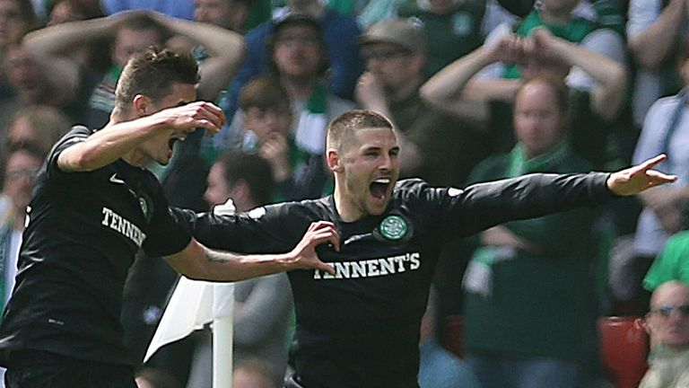 Gary Hooper: Celtic striker celebrates at Hampden