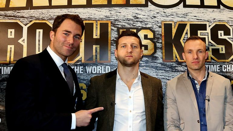 Eddie Hearn with Carl Froch and Mikkel Kessler