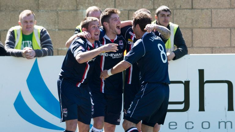 Ross County celebrate a goal at home to Celtic last season