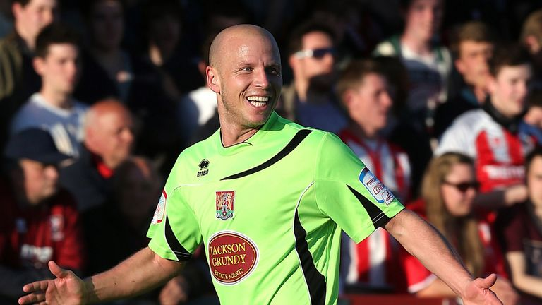 Luke Guttridge: Celebrates his stunning strike