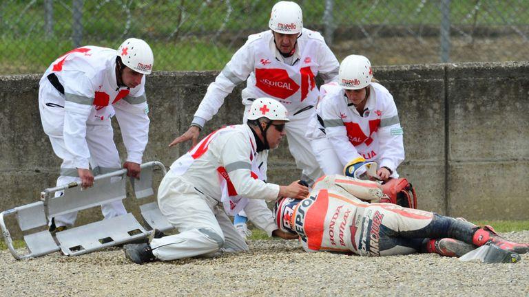 Marc Marquez receives treatment after Mugello crash