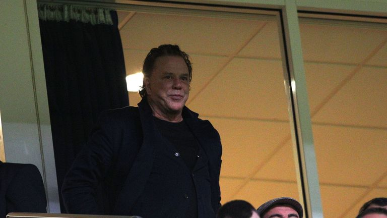 Mickey Rourke: Looks on before the match between Crusaders and Salford at the Millennium Stadium in 2011