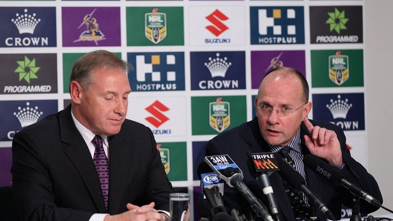 Mark Evans and Ron Gauci at the Melbourne Storm press conference