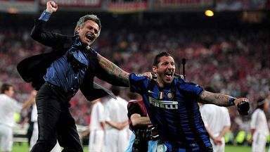 Jose Mourinho and Marco Materazzi: Celebrate after 2010 Champions League success