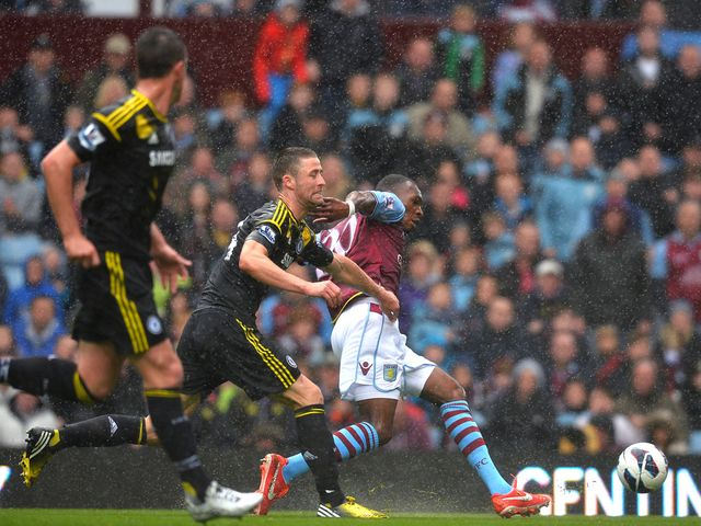 Christian Benteke slots home the opening goal for Villa