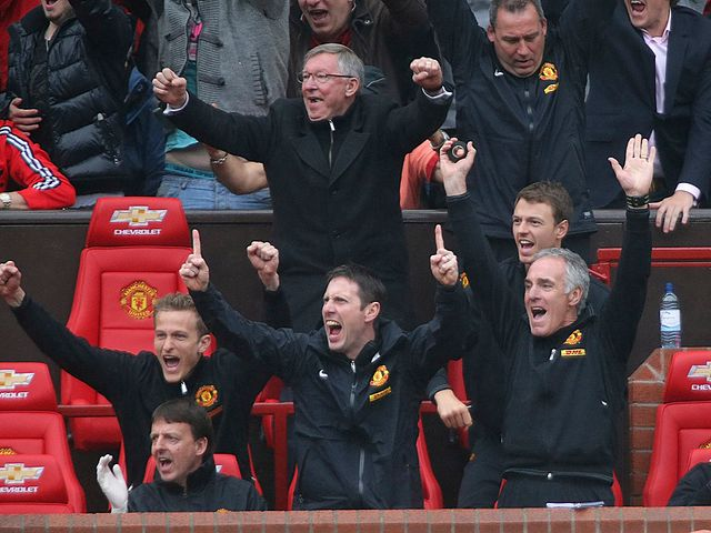 Sir Alex Ferguson celebrates during his final home game in charge