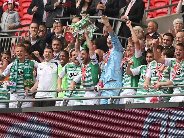 Yeovil celebrate with the trophy at Wembley.