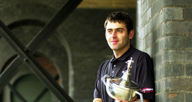Ronnie O'Sullivan celebrating his maiden world title in 2001