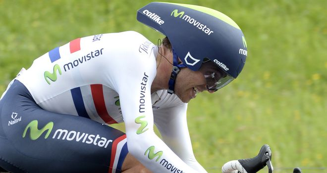 Alex Dowsett on his way to victory in the Giro d'Italia time trial
