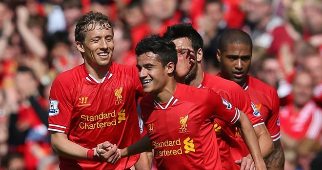 Philippe Coutinho celebrates his goal for Liverpool