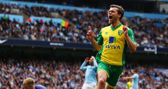 Jonny Howson celebrates the winning goal for Norwich against Manchester City