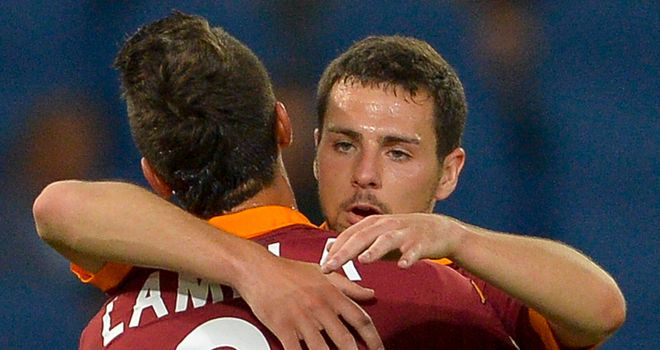 Mattia Destro: Celebrates his goal for Roma