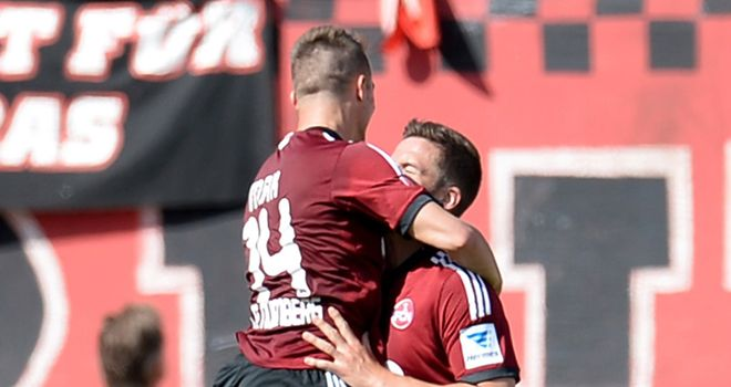 Robert Mak and Per Nilsson celebrate for Nurnberg