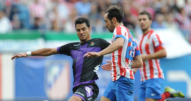 Javi Guerra (l): Scored the vital goal for Valladolid