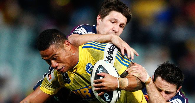 Taulima Tautai, in action here for Parramatta, was injured on his home debut for Wakefield