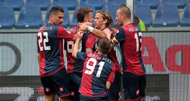 Genoa celebrate Antonio Floro Flores' goal