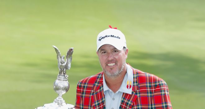 Boo Weekley: poses with the trophy after his one-stroke victory at the Crowne Plaza Invitational at Colonial