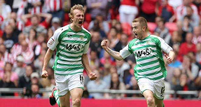 Dan Burn (left): Celebrates his goal for Yeovil at Wembley