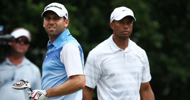 Sergio Garcia and Tiger Woods before their war of words at Sawgrass