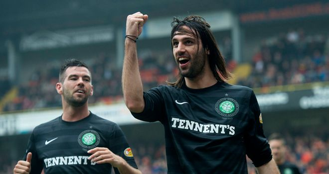 Georgios Samaras: celebrates his second goal in Celtic's 4-0 win over Dundee United