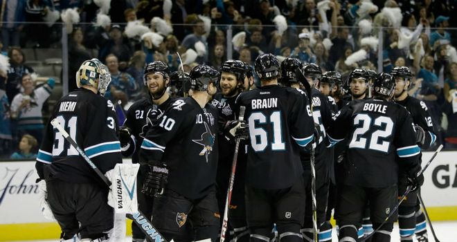The San Jose Sharks celebrate after they beat the Los Angeles Kings