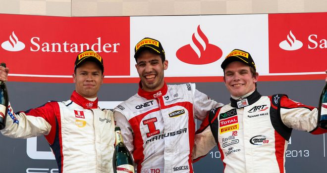 The Race 1 podium: (L-R) Patric Neiderhauser, Tio Ellinas andConor Daly (Image: GP3 Series Media)