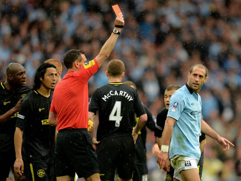 Pablo Zabaleta: Sent off in an FA Cup final