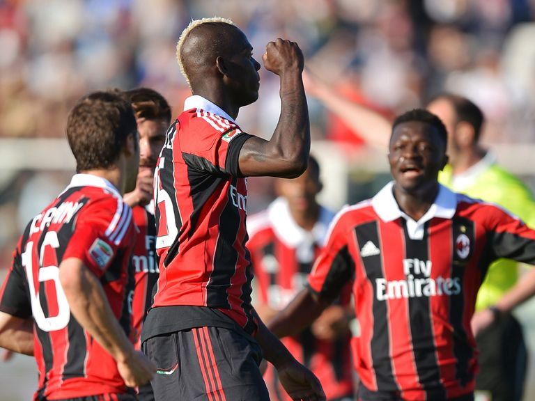 AC Milan striker Mario Balotelli celebrates,