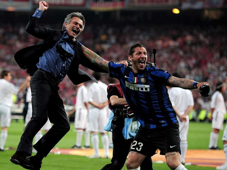 Jose Mourinho celebrates when in charge at Inter