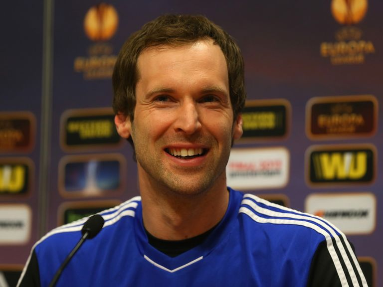Petr Cech faces the press before the Europa League final.