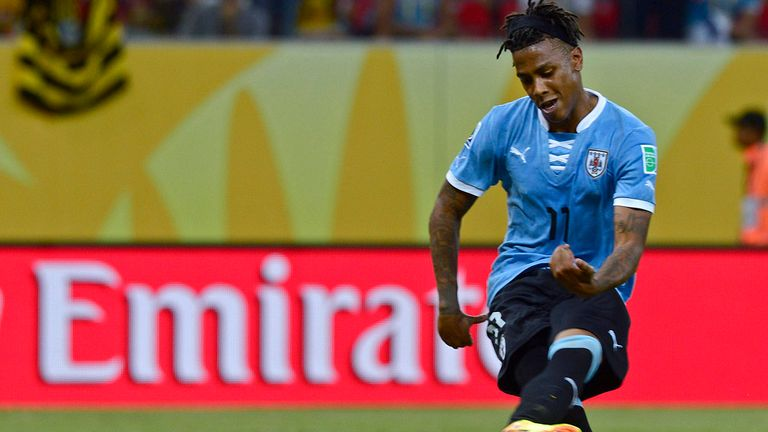 Abel Hernandez: In action for Uruguay at the Confederations Cup