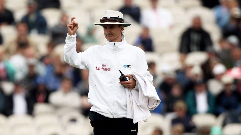 Billy Bowden and his 'crooked finger' signal sends another batsman on his way