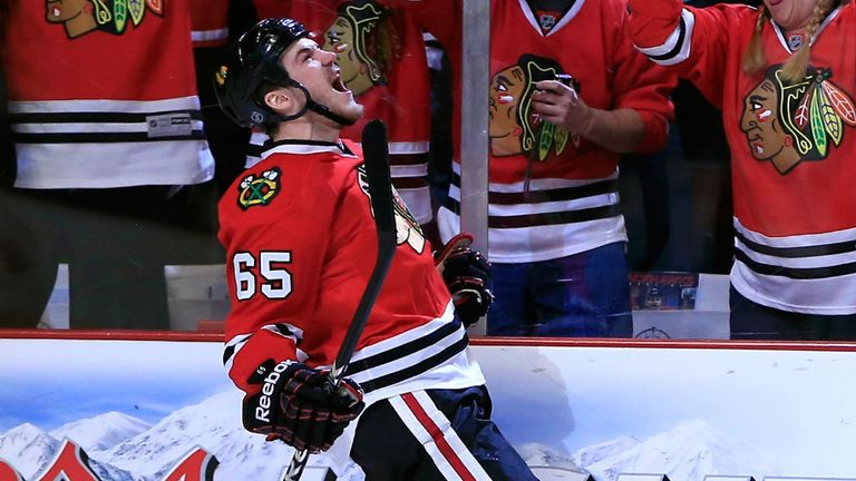 Andrew Shaw celebrates his goal for the Blackhawks