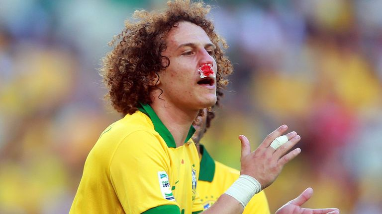 David Luiz: Chelsea's Brazil defender carries on playing with injured nose