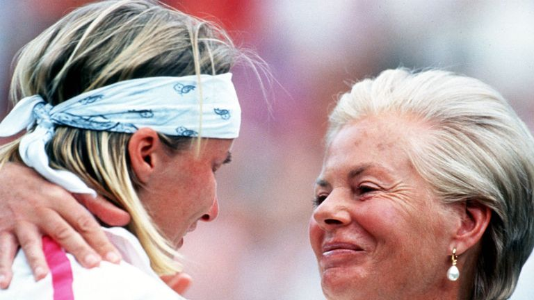 Jana Novotna gets a hug from the Duchess of Kent after defeat in the final