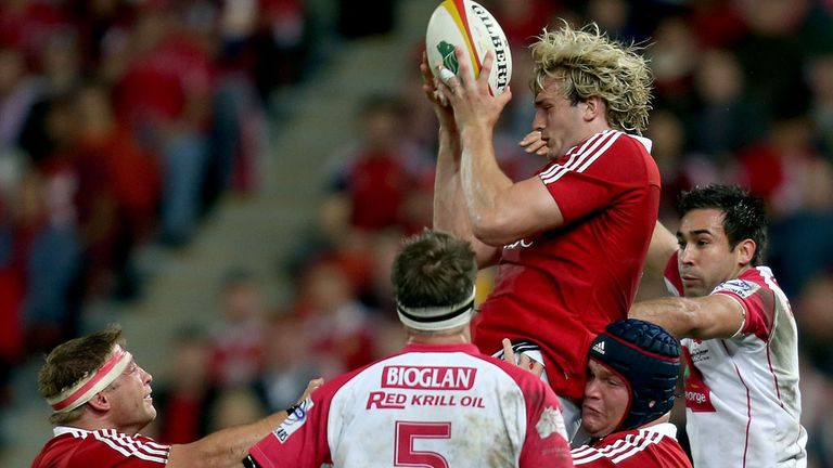 Richie Gray claims a restart during the Lions' win over Queensland Reds