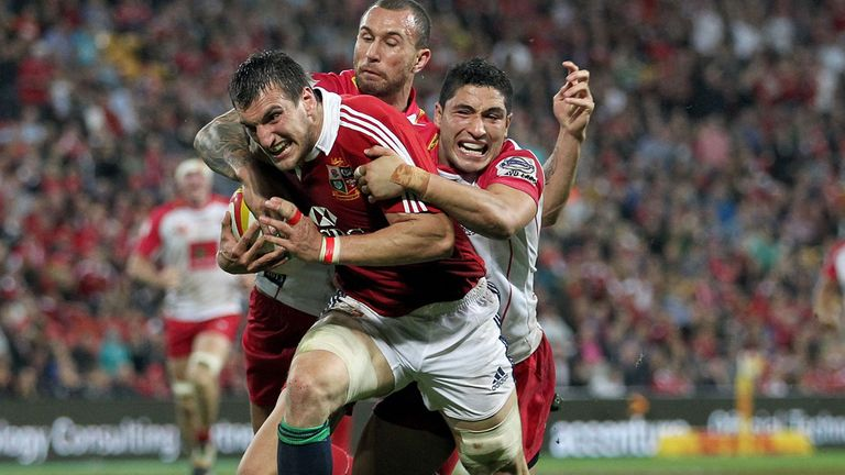 Sam Warburton breaks during the Lions' win in Brisbane