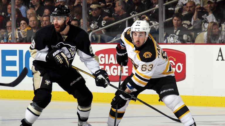 Brad Marchand (right): Scored twice to help the Boston Bruins go 2-0 up in the series